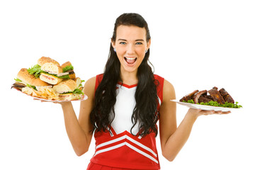 Cheerleader: Holding Sandwiches and Ribs