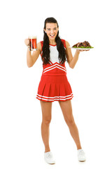 Cheerleader: Holding Ribs and Beer