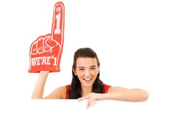 Cheerleader: Wearing a Foam Finger