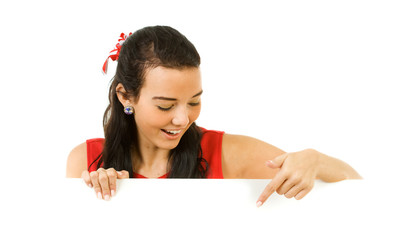 Cheerleader: Pointing Down at a White Card