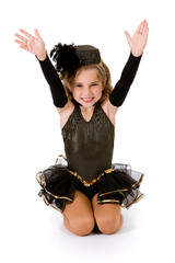 Dance: Girl Tap Dancer in Fancy Costume Does Tah-Dah