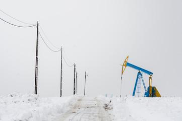 Oil drill in winter