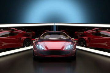 Konzept Sportwagen vor beleuchten Spiegeln