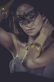 Masquerade Boudoir, sensual masked woman, venetian mask, brunett