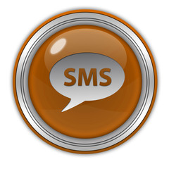 sms circular icon on white background
