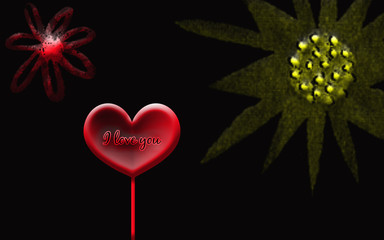 flowers and heart, I love you