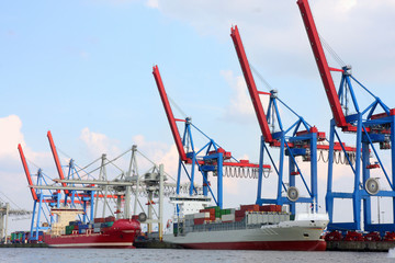Port of Hamburg on the river Elbe, the largest port in Germany