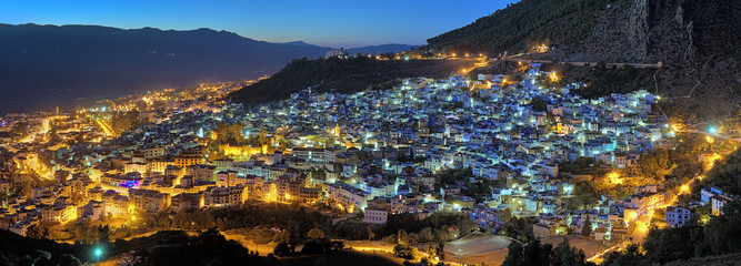 Evening panorama of Chefchaouen, Morocco