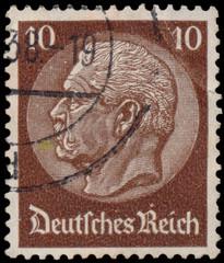 Stamp printed in Germany shows portrait of Paul von Hindenburg