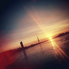 Sunrise at Daugava river in Riga