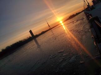 Sunrise at Daugava river in the morning Riga