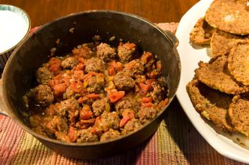 Tunisian lamb balls (Kefta Ghan' Mi Bel') with zucchini fritters