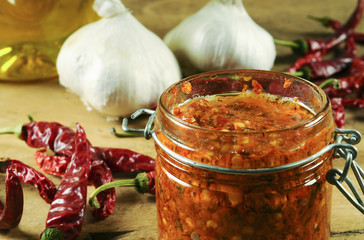 Spicy harissa sauce, made with garlic, cayenne, olive oil