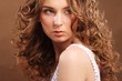 canvas print picture - young woman with curly hair
