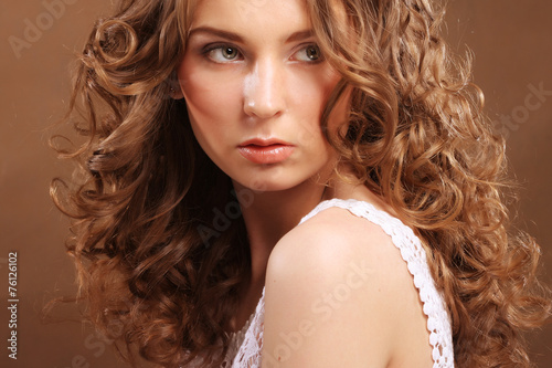 canvas print picture young woman with curly hair