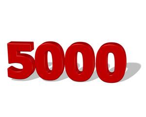 kırmızı renkli gölgeli 5000 sayısı
