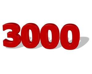 kırmızı renkli gölgeli 3000 sayısı