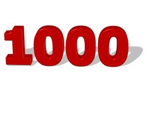 kırmızı renkli gölgeli 1000 sayısı