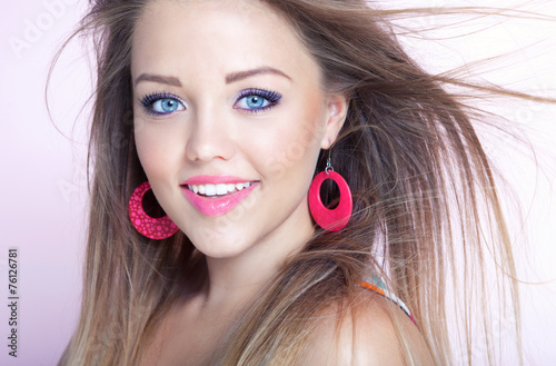 Young attractive cheerful woman, beauty style concept