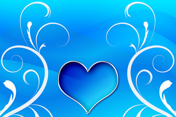 Blue Heart Surrounded by Graphic Swirls