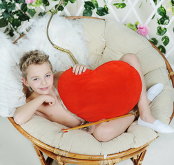 baby cupid with heart