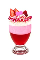 Valentines Day themed strawberry jelly parfait dessert