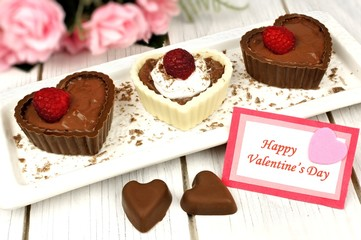 Happy Valentines card with heart shaped chocolate dessert cups