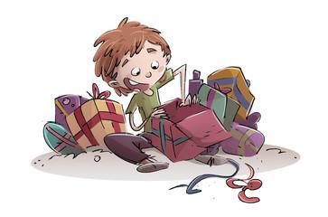 niño feliz abriendo regalos