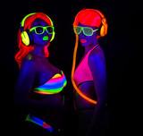 Fototapety two sexy neon uv glow dancers