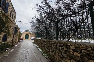 Jerusalem street in snow.