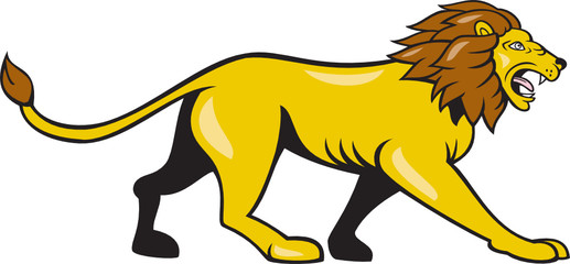 Angry Lion Walking Roar Cartoon
