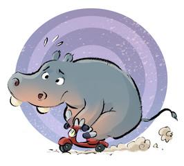 hipopótamo en moto