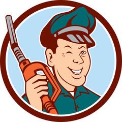 Gas Attendant Nozzle Winking Circle Cartoon