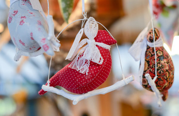Christmas market decoration - handmade textile bird toys.