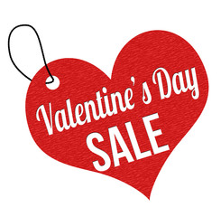 Valentines Day sale label or price tag