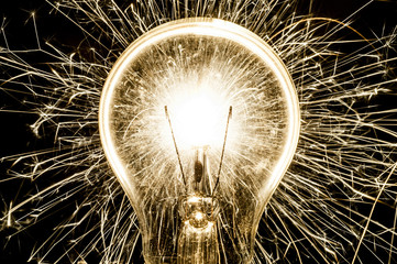 Electric sparklers in bulb idea