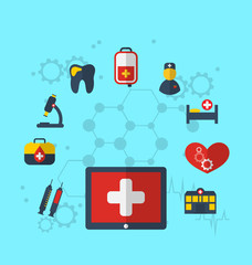 Tablet pc with medical icons for web design, modern flat style