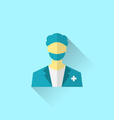 Icon of medical doctor with shadow in modern flat design style
