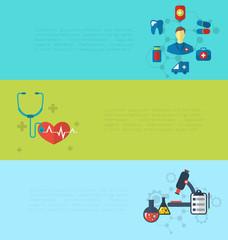 Concept of medical diagnostics hospital clinic care, set banners