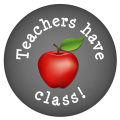 Teachers have class! Chalk blackboard, big red apple, circle