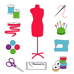 Sewing, Tailoring Icons, Fashion model mannequin, DIY tools