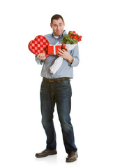 Valentine: Man's Arms Full of Gifts