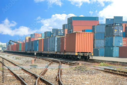 Cargo train platform with freight train container at depot