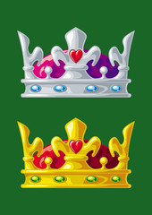 Golden and silver crowns