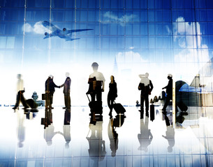 Business People Pilot Corporate Airport Travel Flight Concept