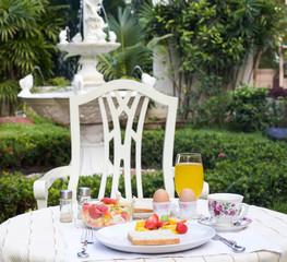 Healthy breakfast with fruit salad