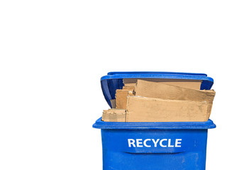 Front of flattened corrugated boxes in recycling bin, horizontal
