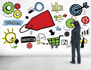 Businessman Branding Marketing Strategy Ideas Concept