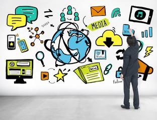 Man Media Global Communication Ideas Writing Concept