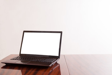 Open laptop with isolated screen